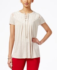 Styleandco. Style And Co. Short Sleeve Lace Yoke Top Only At Macy's Natural
