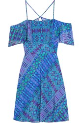 Matthew Williamson Off The Shoulder Printed Silk Crepe De Chine Mini Dress Cobalt Blue