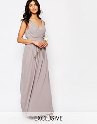 Tfnc Wedding Wrap Embellished Maxi Dress Opal Gray