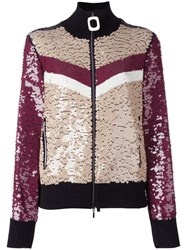 Aviu Sequined Zip Up Cardigan Brown