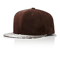 Just Don Men's Suede And Python Baseball Cap Brown