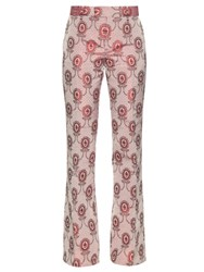 Gucci Flared Silk Brocade Trousers Pink Multi