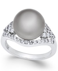 Macy's Cultured Tahitian Pearl 11Mm And Diamond 5 8 Ct. T.W. Ring In 14K White Gold Black