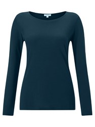 Jigsaw Pima Cotton Long Sleeve T Shirt Petrol