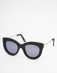 Asos Chunky Cat Eye Sunglasses With Metal Arms In Rubber Matt Black