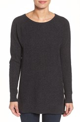 Halogenr Petite Women's Halogen High Low Wool And Cashmere Tunic Sweater Heather Charcoal