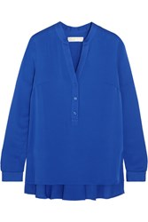 Michael Michael Kors Pleated Silk Crepe De Chine Blouse Blue