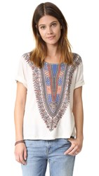 Raquel Allegra Print Boxy Tee Dirty White