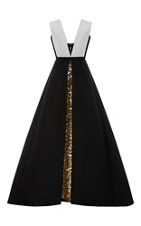 Elizabeth Kennedy Gold Embroidered Underskirt With Bi Colored Over Dress Black White Gold