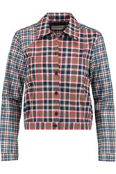 Victoria Beckham Cropped Plaid Cotton Shirt Red