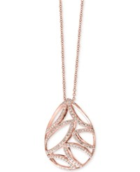 Effy Collection Pave Rose By Effy Diamond Teardrop Pendant Necklace 3 8 Ct. T.W. In 14K Rose Gold