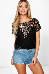 Boohoo Circle Detail Crochet Tee Black