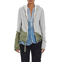 Greg Lauren Women's Cotton Army Tent Zip Front Hoodie Grey