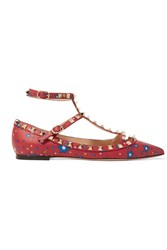 Valentino The Rockstud Printed Leather Point Toe Flats Red