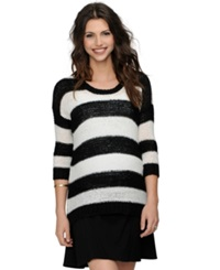 Design History Maternity Striped Three Quarter Sleeve Sweater Pearl Black