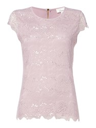 Linea Zip Back Lace Front Top Pink
