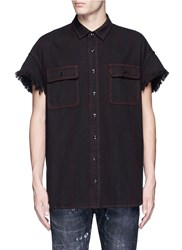 R 13 Oversized Frayed Cuff Cotton Shirt Black