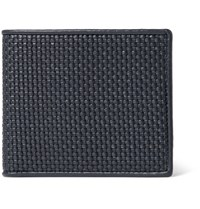 Ermenegildo Zegna Pelle Tessuta Woven Leather Billfold Wallet Navy