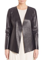 Eileen Fisher Draped Leather Jacket Black