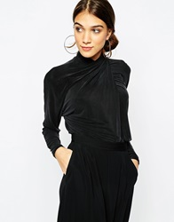 Ganni Knot Front Top In Cupro Black