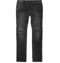 Balmain Skinny Fit Stretch Denim Biker Jeans Black