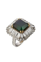 Alexander Mcqueen Jeweled Cocktail Ring Green