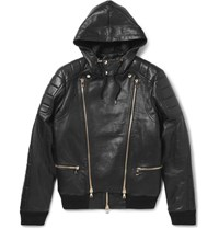 Balmain Panelled Leather Bomber Jacket Black