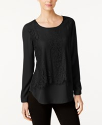 Ny Collection Lace Popover Blouse Black