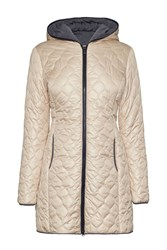James Lakeland Long Puffer Jacket Beige