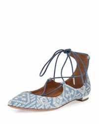 Aquazzura Christy Embroidered Denim Flat Light Blue