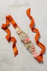Anthropologie Beaded Flora Belt Orange