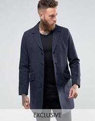 Only And Sons Smart Overcoat In Wool Navy