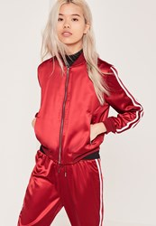Missguided Petite Stripe Panel Satin Bomber Jacket Red Red