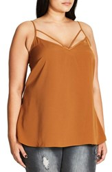 City Chic Plus Size Women's Strappy Woven Camisole Marigold