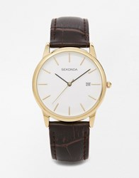 Sekonda Leather Strap Watch With Gold Plated Dial Brown
