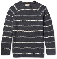 Nudie Jeans Vladimir Striped Cotton Blend Sweater Anthracite
