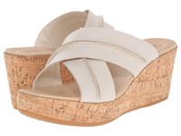 Hush Puppies Belinda Durante Off White Leather Women's Wedge Shoes Beige