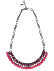 John And Pearl Pink Bead Necklace Purple Fuchsia
