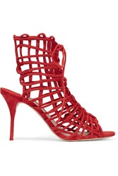 Sophia Webster Delphine Suede Sandals Red