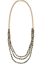 Chan Luu Gold Tone Stone Necklace Brown
