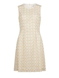 Gina Bacconi A Line Flower Embroidered Dress Gold