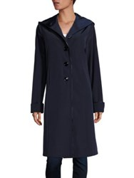 Jane Post Hooded Piped Coat Navy