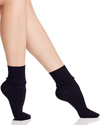 Hue Ruffle Lace Trim Socks Black