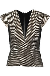 Mason By Michelle Mason Mesh Covered Cotton And Jersey Top Black