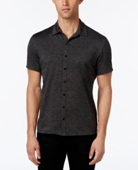 Alfani Men's Ethan Heather Short Sleeve Shirt Classic Fit Deep Black