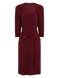 Hotsquash Silver Buckle Dress In Clever Fabric Burgundy