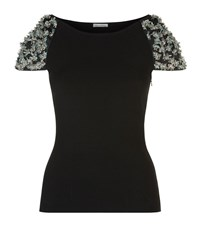 Oscar De La Renta Bead Applique Cap Sleeve Top Female Black
