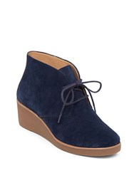 Lucky Brand Lace Up Suede Platform Wedge Shoes Navy Blue