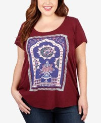 Lucky Brand Trendy Plus Size Graphic T Shirt Purple