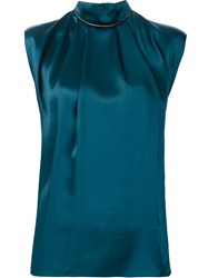 Lanvin Ruffled Neck Sleeveless Blouse Green